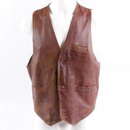 Pánská koženková vesta odstín hnědé