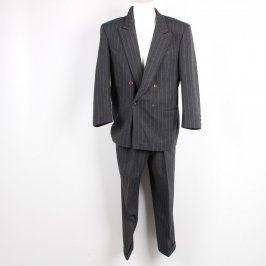 Pánský oblek VIP Design tmavý s pruhy