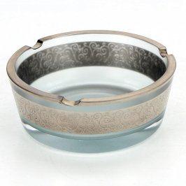 Popelník skleněný se stříbrným zdobením