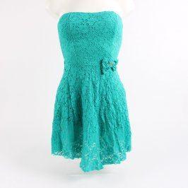 Dámské krajkové šaty bez ramínek modré