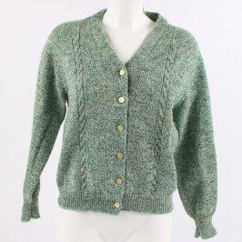 Dámský svetr zelený propínací