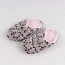 Domácí papuče černo-růžovo-šedé