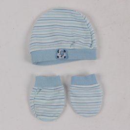 Čepice a rukavice s modrými proužky