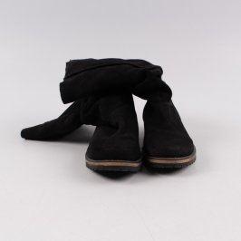 Dámské kozačky bez podpatku černé