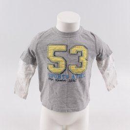Dětské tričko George šedé s bílými rukávy