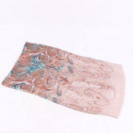 Dětský šátek hnědo modrý s ornamenty