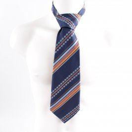 Pánská kravata Hedva modrá s barevnými pruhy