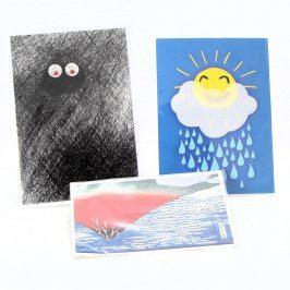 Kreslené pohlednice a přání 3 ks