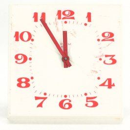Nástěnné hodiny bílo červené