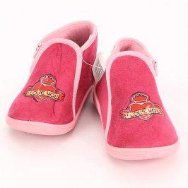Dětské bačkory růžové barvy na zip