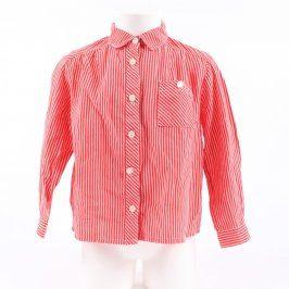Dětská košile červená s bílými proužky