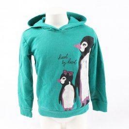 Dětská mikina zelená s obrázkem tučňáků