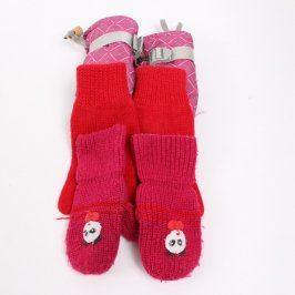 Dětské rukavice červené a růžové 3 ks