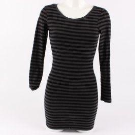 Dámské šaty pruhované černo šedé