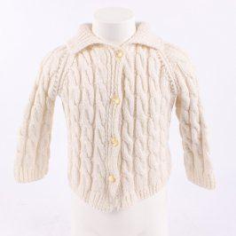 Dětský svetr bílý na knoflíky s copánky