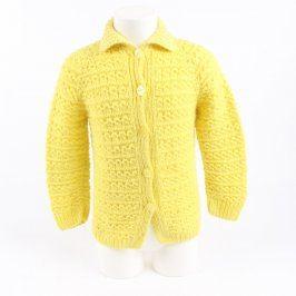 Dětský svetr pletený žlutý na knoflíky