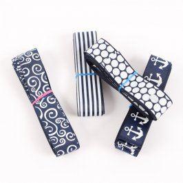 Stužky modré s bílými ornamenty 4 ks