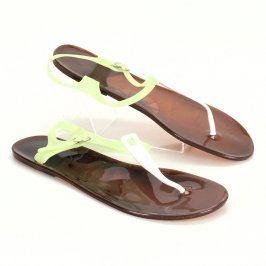 Dámské plastové sandále zeleno-žlutý pásek
