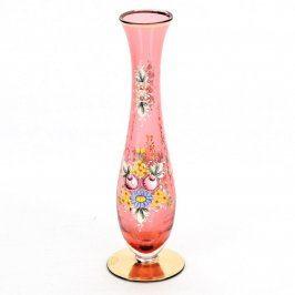 Váza z růžového skla s malovaným dekorem