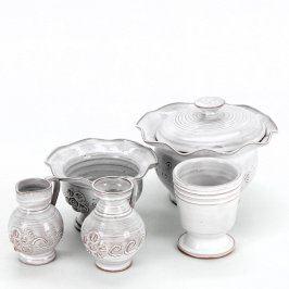 Keramická čajová sada s dekorem
