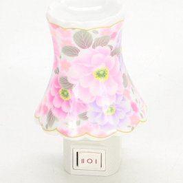 Noční světlo do zásuvky keramické růžové