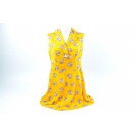 Dámské šaty žluté s květinovým vzorem