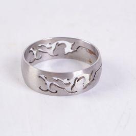 Ocelový prsten široký s ornamentem