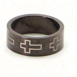 Ocelový prsten široký s křížem